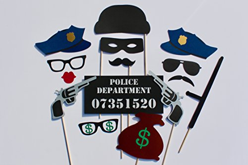 Cops & Robbers Photo Booth Props - 15 Pc Set Includes Mug Shot Sign and More