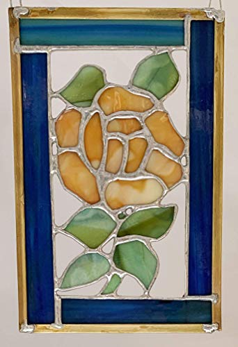 (Handmade stained glass yellow Rose with Green Leaves and Stem set into Blue and Green Glass Frame )