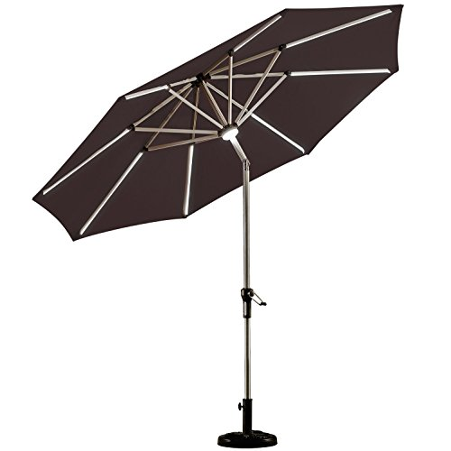 PURPLE LEAF 9 Feet Solar Powered LED Lighted Patio Umbrella with Push Button Tilt and Crank Outdoor Market Umbrella Garden Umbrella, Brown