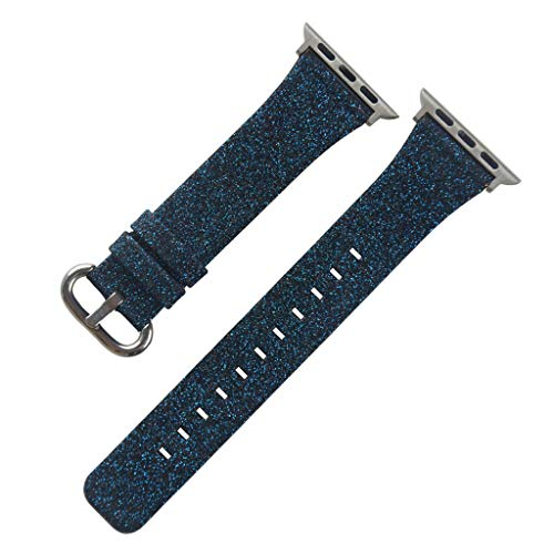 for Apple Watch Series 1/2/3/4 38 / 40mm Deluxe Leather Replacement Bracelet Blue