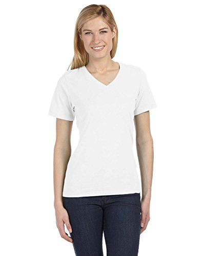 Bella girls Missy's Relaxed Jersey Short-Sleeve V-Neck T-Shirt(6405)-WHITE-S Cotton S/s Tee