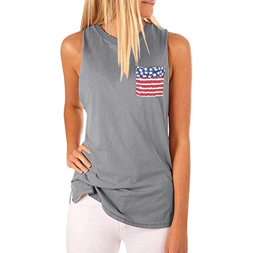 T Shirts for Women High Neck Tank Sleeveless T Shirts Independence Day American Pocket Cami Tops ()