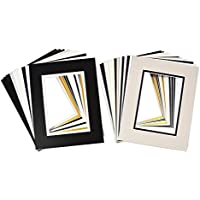 Golden State Art, Pack of 25, Mix Colors 8x10 Picture Double Mat for 5x7 Photo with White Core Bevel Cut Frame Mattes