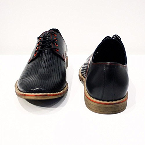 PeppeShoes Modello Belpasso - Handmade Italiennes Cuir Pour des Hommes Black Chaussures Oxfords - Cuir de Vachette Cuir Gaufré - Lacer