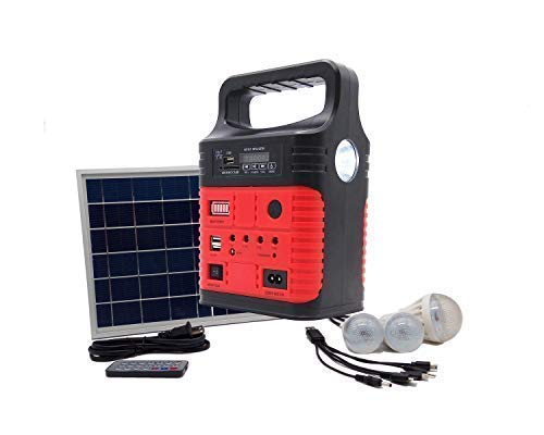 Portable Solar Generator with Solar Panel,Included 3 Sets LED Lights,Solar Power Inverter,Electric Generator,Small Basic Portable Generator Kit,Solar Lights for Home & Camping,Power for Solar ()