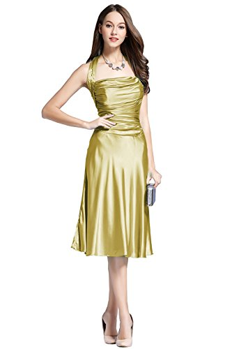 Classy Blue Halter Satin Wedding Short Women Prom Dress light Gold 12