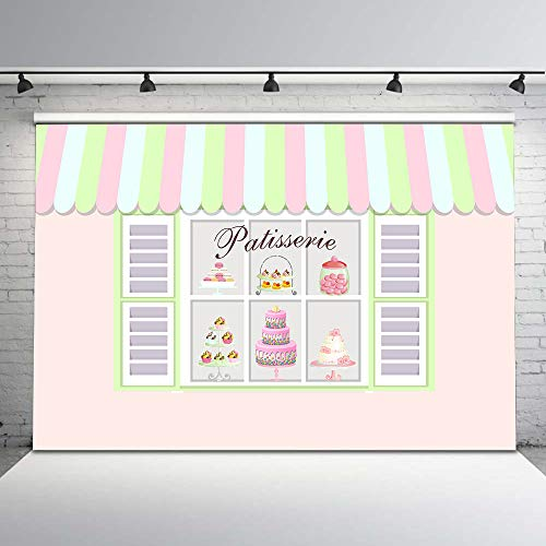 Mehofoto French Macaron Parisian Party Backdrop Patisserie Shop Photo Background 7x5ft Fench Cupcake Store Background Dessert Table Decorations]()