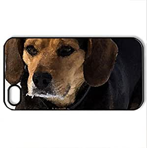 Beagle - Case Cover for iPhone 4 and 4s (Dogs Series, Watercolor style, Black)