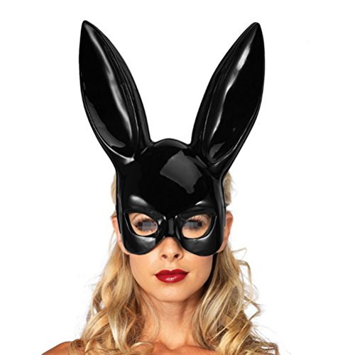 LUOEM Adult Bunny Mask Women's Masquerade Rabbit Mask Bunny Rabbit Mask for Birthday Party Easter Halloween Bar Costume Cosplay Accessory (Bright Black) -