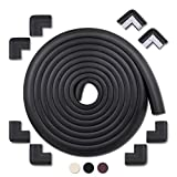 MEETBABY 20.4 ft [18ft Edge + 8 Corners] Baby Proofing Edge & Corner Cushion Foam Corner Protectors Child Fireplace Home School Furniture Corner Guards Safety Bumper Baby Edge Guard(Black)