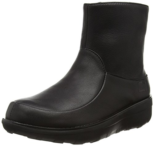 Fitflop WoMen Loaff Shorty Zip Leather Ankle Boots Black (All Black)