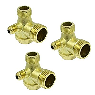COMOK Male Thread 3-Way Air Compressor Fittings Threaded Check Valve Compressor Replacement Check Valve Assembly Gold Tone 3PCS