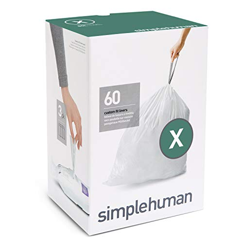 (simplehuman Code X Custom Fit Drawstring Trash Bags, 80 Liter / 21 Gallon, 3 Refill Packs (60 Count))