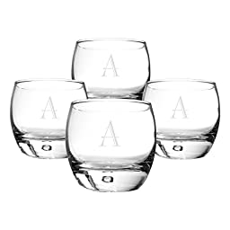 Cathy\'s Concepts Personalized Heavy Based Whiskey Glasses, Set of 4, Letter A