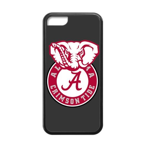 Generic Custom Extraordinary Best Design NCAA University of Alabama Crimson Tide Team Symbol Plastic and TPU Black and White Case Cover for iPhone5C