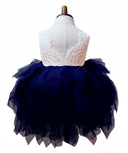 2Bunnies Girl Beaded Peony Lace Back A-Line Tiered Tutu Tulle Flower Girl Dress (Navy Sleeveless, 3T)]()