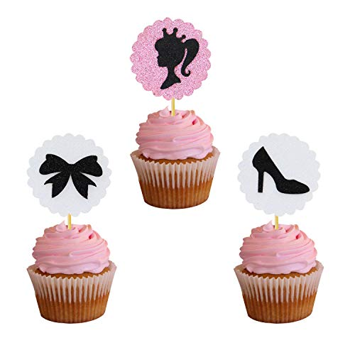 Joymee 24 Pcs Glitter Silhouette Cupcake Toppers Fashion Princess High Heels Bow Cupcake Toppers for Baby Shower Princess Birthday Party Girl Ponytail Party Decorations -