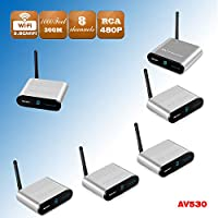 Measy AV530-5 (1X5) 5.8GHz Wireless Audio Video AV Transmitter Receiver Sender Set 8 Channels CCTV Camera DVR FPV DVD up to 300m /1000 Feet
