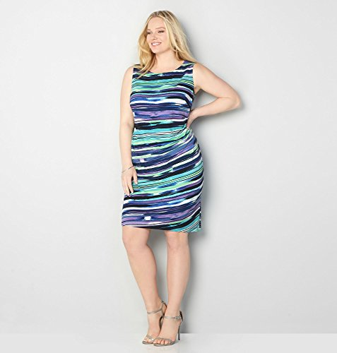 AVENUE-Womens-Painterly-Stripe-Ruched-Dress