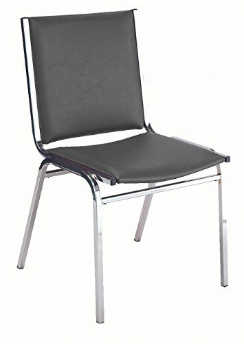 KFI Seating 410 Armless Stacking Chair, Commercial Grade, 1-Inch, Black Vinyl, Made in the USA Armless Vinyl Guest Chair