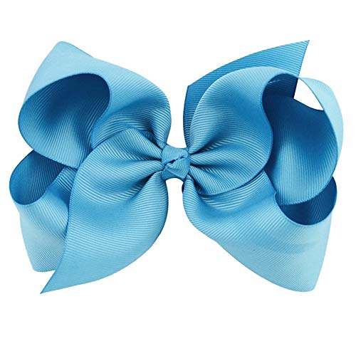 Light Blue Grosgrain Bow Clip - Extra Large Bows with Alligator Clips by CoverYourHair
