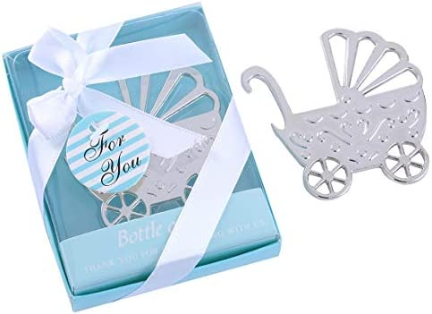 Yuokwer Pack of 24 Boys Baby Shower Party Favor Bottle Opener Party Supplies Decoration Return Gift for Guest Wedding Party Souvenir for Birthday Bridal Shower Bar Tools,Baby Carriage Blue, 24