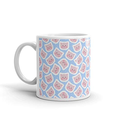 Pig Head Cute Seamless Pattern Mug 11 Oz Ceramic