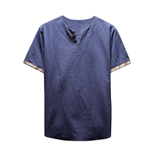 iLXHD Men's Summer Casual Linen and Cotton Short Sleeve V-Neck T-Shirt Blouse (2XL, ()