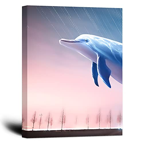 Dolphin Room Decor 12×16inch with Frame Pink Wall Art Sky Sunset Prints Painting Dreamlike Series Canvas Artwork Wall Decor for Living Room Bedroom Decoration Bathroom Wall Picture