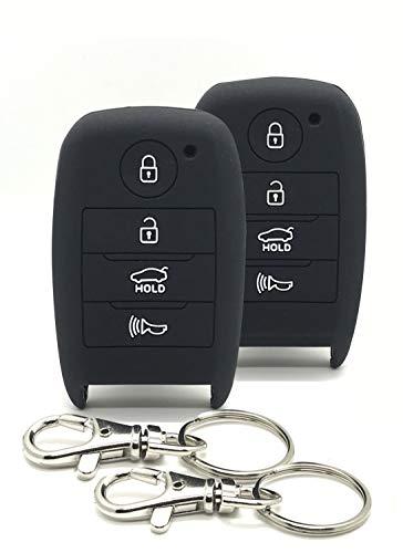 Good Life+Style 2 pcs KIA Smart Key Fob Covers for Keyless Remote with Snap Hooks | Set of 2 Kia Key Fob Protector Cases for 2014 2015 2016 2017 2018 2019 Forte Optima Rio Sedona Sorento Soul Sportage
