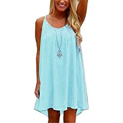 Amstt Womens Summer Sexy Vibrant Color Chiffon Dress Bathing Suit Cover up (S, Light Blue)
