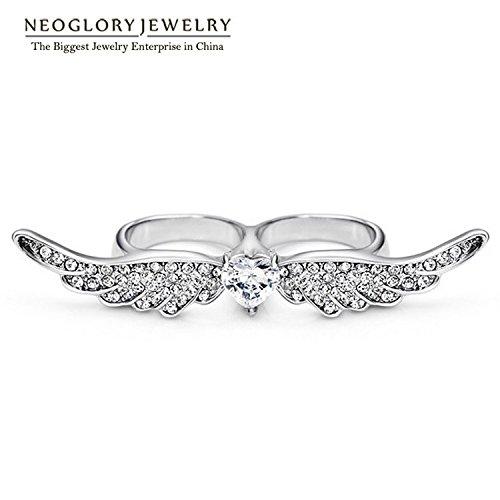 [Cherryn Jewelry Brazil Zircon Rhinestone Angle LoveRing for Two Fingers Women Wedding Fashion] (Brazil Costume Male)