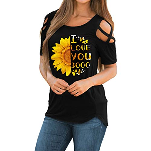 Women Summer Sunflower Print Short Sleeve Strappy Cold Shoulder T-Shirt Tops Blouses Toponly