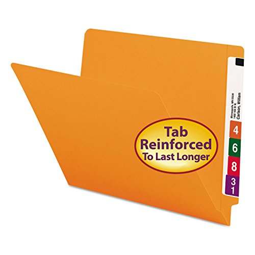 Smead 25510 Colored File Folders Straight Cut Reinforced End Tab Letter Orange 100/Box