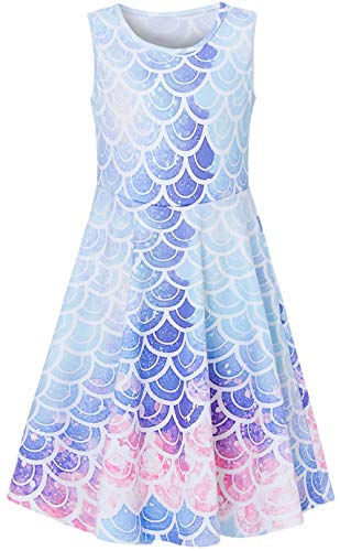 Leapparel Girl's Cute Dresses Colorful Frocks Fish Scales One Piece Printed Dress Sleeveless Sundress Slim Fit Skirts Birthday Gift for Girl 6-7 Years Old