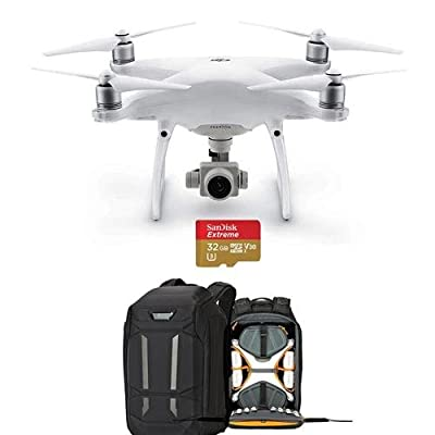 "DJI Phantom 4 Advanced+ Quadcopter Drone with 5.5"" FHD Screen Remote Controller - Bundle With Lowepro DroneGuard Pro 450 Backpack, 32GB MicroSDHC U3 Card"