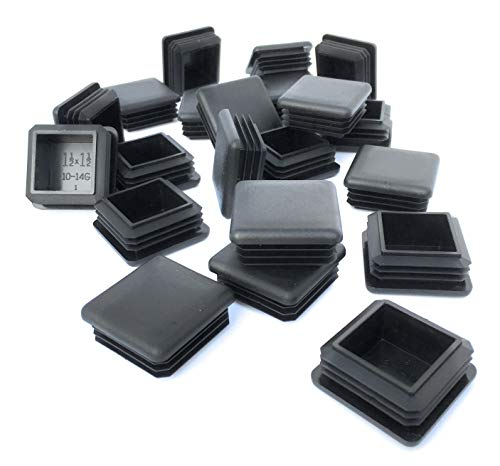 (20 Pack) (10-14 Gauge) Heavy Duty Black Plastic Square Plug 1.5'' x 1.5'' (Fits Square Tubing Inside Diameter 1.29'' - 1.34'') (20) by Brewdogsupplies