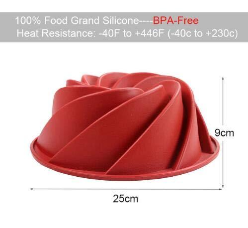 1 piece Large Spiral Shape Food Grade Silicone Bundt Cake Mold Pan 3d Fluted Cake Mould Form Bread Bakery Baking Tools Bakeware