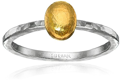 GURHAN Jordan Sterling Silver Layered with 24k Gold Small Stackable Ring, Size 6.5 by Gurhan