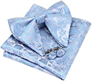 GUSLESON Fashion New Paisley Adjustable Pre-tied Big Bow Tie and Pocket Square Cufflink Set with Gift Box