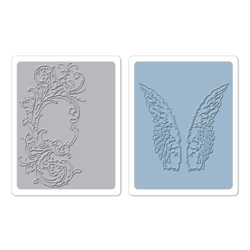 Sizzix Texture Fades A2 Embossing Folders 2/Pkg-Flourish & Wings By Tim Holtz 658271