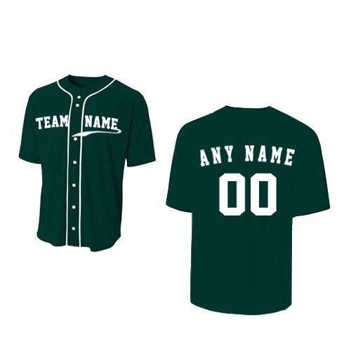 A4 Sportswear Forest Dark Green Adult XL (CUSTOM Front and/or Back) Full-Button Baseball Wicking Jersey by A4 Sportswear