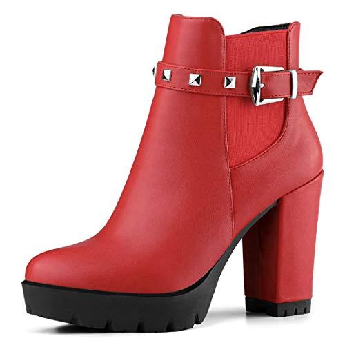 Allegra K Women's Rivet Decor Platform Chunky Heel Red Ankle Boots - 6 M US