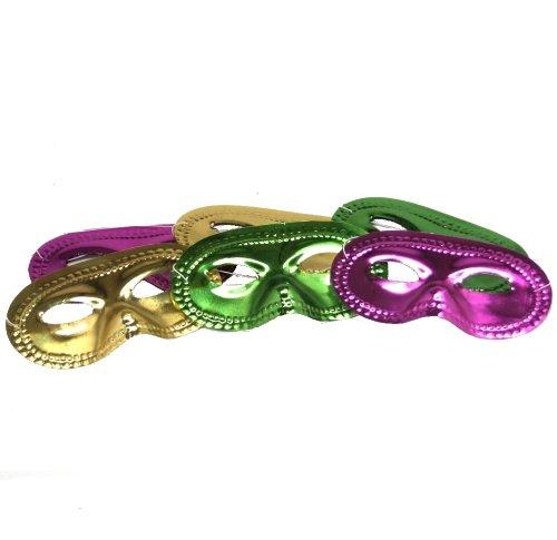 Mardi Gras Metallic Half Masks : package of 12 -