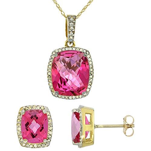 Jewellery World Bague en or jaune 9carats avec Topaze Coussin octogone naturelle rose Boucles d'oreilles et pendentif Set Accents de diamant