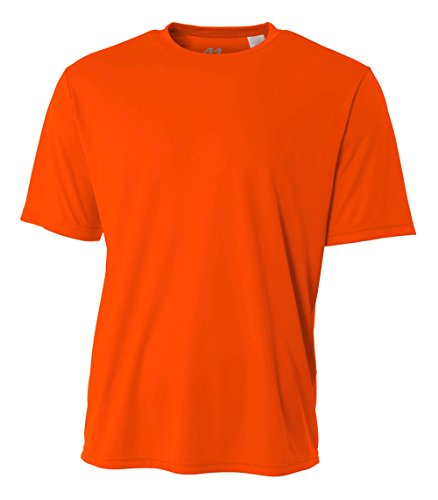 A4 Men's Cooling Performance Crew Short Sleeve T-Shirt, Safety Orange, Large