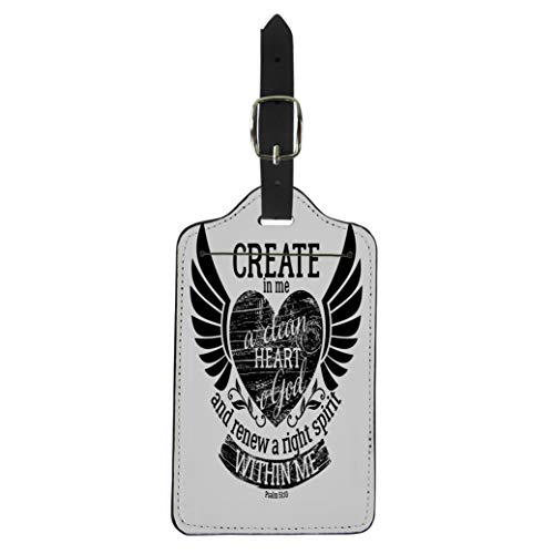 Pinbeam Luggage Tag Biblical Christian Lettering Create in Me Clean Heart Suitcase Baggage Label