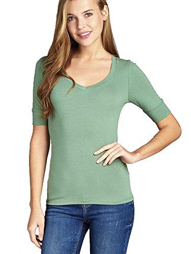 Emmalise Women's Slim Athletic Fit Vneck Tshirt Half Sleeves Top (Dusty Green, 3XL)