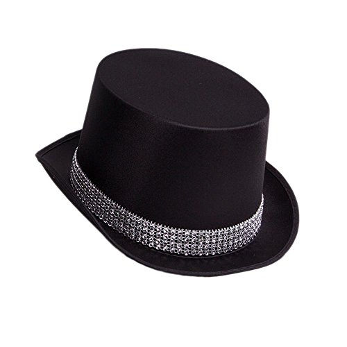 Jacobson Hat Company Men's Satin Top Hat with Rhinestone Band, Black, Adult (Band Black Top Hat)