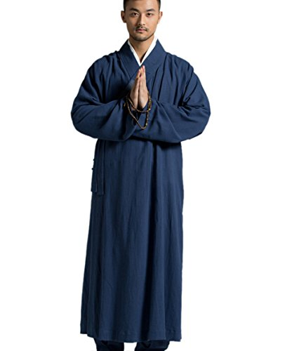 - ZanYing Men's Long Gown Traditional Buddhist Meditation Monk Robe (L, Blue S28)